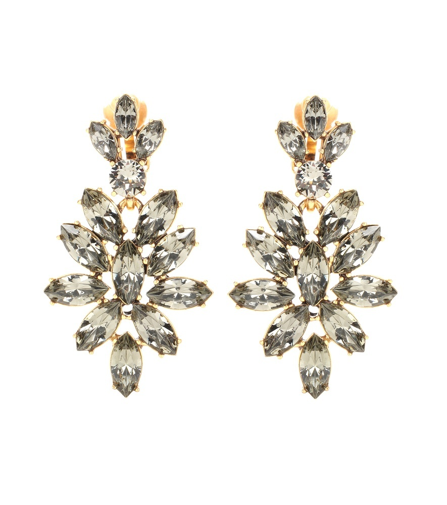 Swarovski Crystal Embellished Clip On Earrings - predominant colour: gold; occasions: evening, occasion; style: drop; length: long; size: large/oversized; material: chain/metal; fastening: clip on; finish: metallic; embellishment: crystals/glass; season: s/s 2016; wardrobe: event