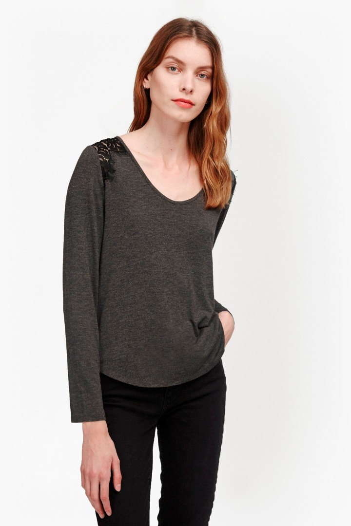 Marley Lace Long Sleeve T Shirt Dark Grey Mel/Black - pattern: plain; predominant colour: charcoal; occasions: casual; length: standard; style: top; neckline: scoop; fibres: cotton - 100%; fit: body skimming; sleeve length: long sleeve; sleeve style: standard; pattern type: fabric; texture group: jersey - stretchy/drapey; season: s/s 2016; wardrobe: basic