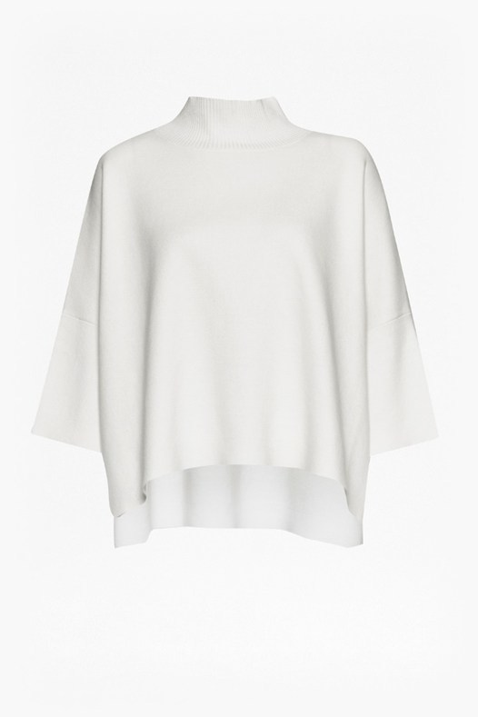 Milano Mozart High Neck Jumper Summer White - sleeve style: dolman/batwing; pattern: plain; neckline: roll neck; style: standard; predominant colour: ivory/cream; occasions: casual, creative work; length: standard; fibres: cotton - 100%; fit: loose; back detail: longer hem at back than at front; sleeve length: 3/4 length; texture group: knits/crochet; pattern type: knitted - fine stitch; season: s/s 2016; wardrobe: basic
