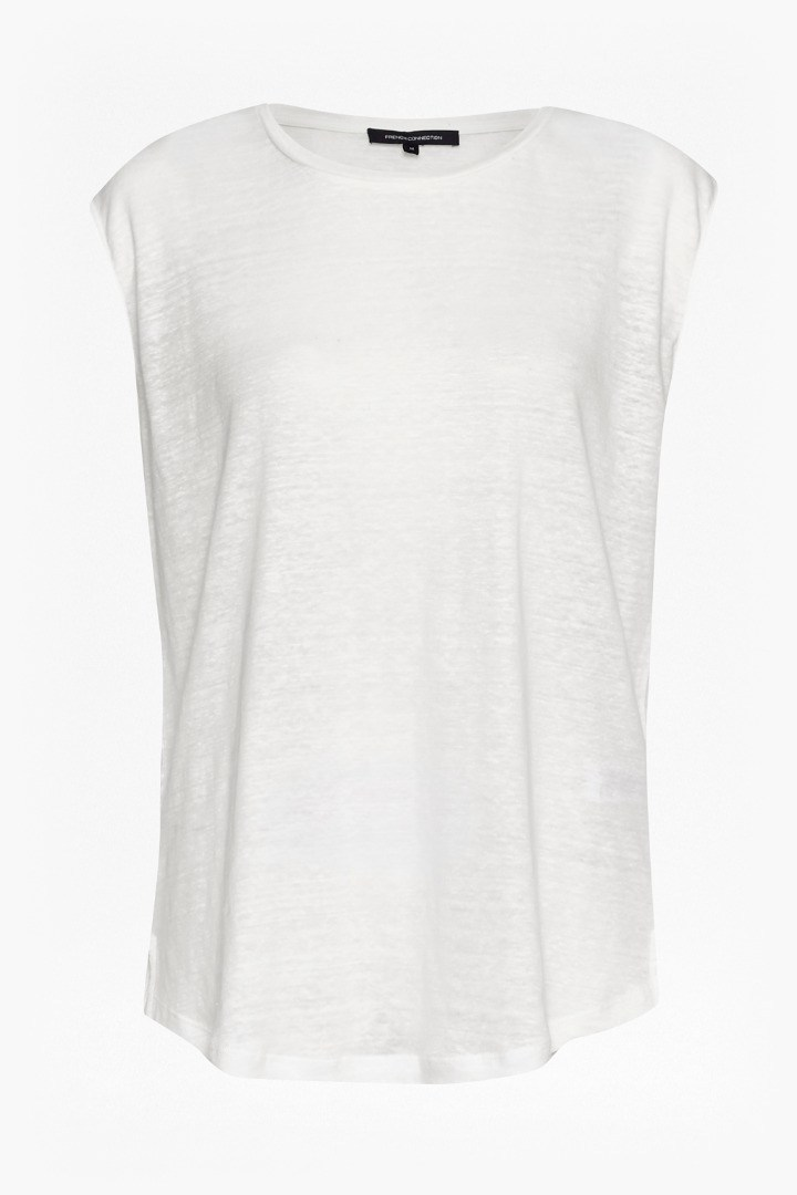 Laurel Linen Short Sleeve T Shirt Winter White - sleeve style: capped; pattern: plain; style: t-shirt; predominant colour: white; occasions: casual; length: standard; fibres: linen - 100%; fit: body skimming; neckline: crew; sleeve length: sleeveless; texture group: linen; pattern type: fabric; season: s/s 2016; wardrobe: basic