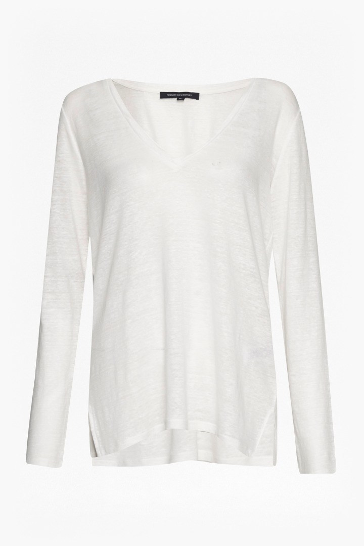 Laurel Linen Long Sleeve T Shirt Winter White - neckline: low v-neck; pattern: plain; length: below the bottom; style: t-shirt; predominant colour: white; occasions: casual; fibres: linen - 100%; fit: body skimming; sleeve length: long sleeve; sleeve style: standard; pattern type: fabric; texture group: jersey - stretchy/drapey; season: s/s 2016; wardrobe: basic