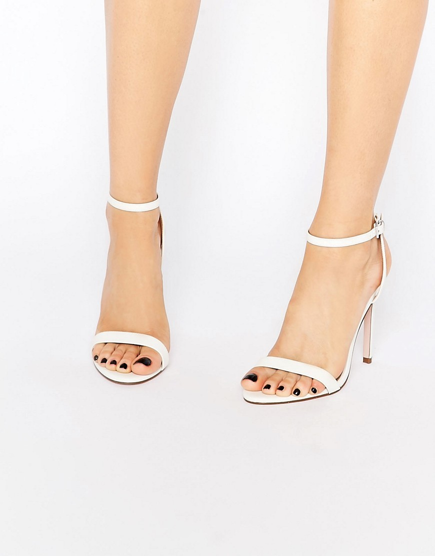 High Five Heeled Sandals White - predominant colour: white; occasions: evening; material: faux leather; heel height: high; ankle detail: ankle strap; heel: stiletto; toe: open toe/peeptoe; style: standard; finish: plain; pattern: plain; season: s/s 2016; wardrobe: event