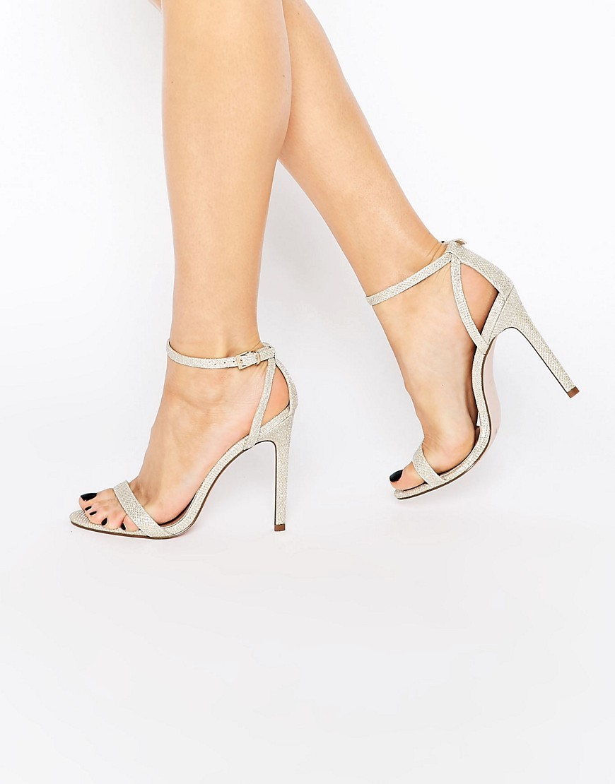 High Five Heeled Sandals Gold - predominant colour: ivory/cream; occasions: evening; material: faux leather; heel height: high; ankle detail: ankle strap; heel: stiletto; toe: open toe/peeptoe; style: standard; finish: plain; pattern: plain; season: s/s 2016; wardrobe: event