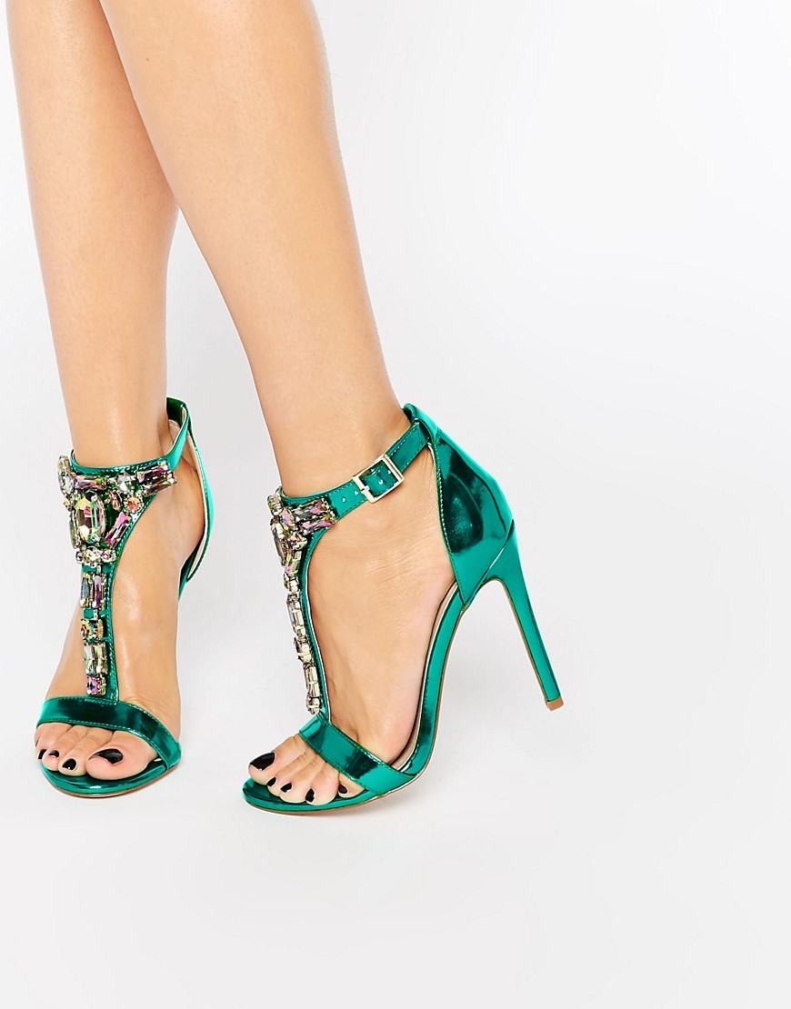 Heighten Embellished Heeled Sandals Green Metallic - predominant colour: emerald green; secondary colour: black; occasions: evening; material: faux leather; heel height: high; embellishment: crystals/glass; ankle detail: ankle strap; heel: stiletto; toe: open toe/peeptoe; style: standard; finish: plain; pattern: patterned/print; season: s/s 2016; wardrobe: event