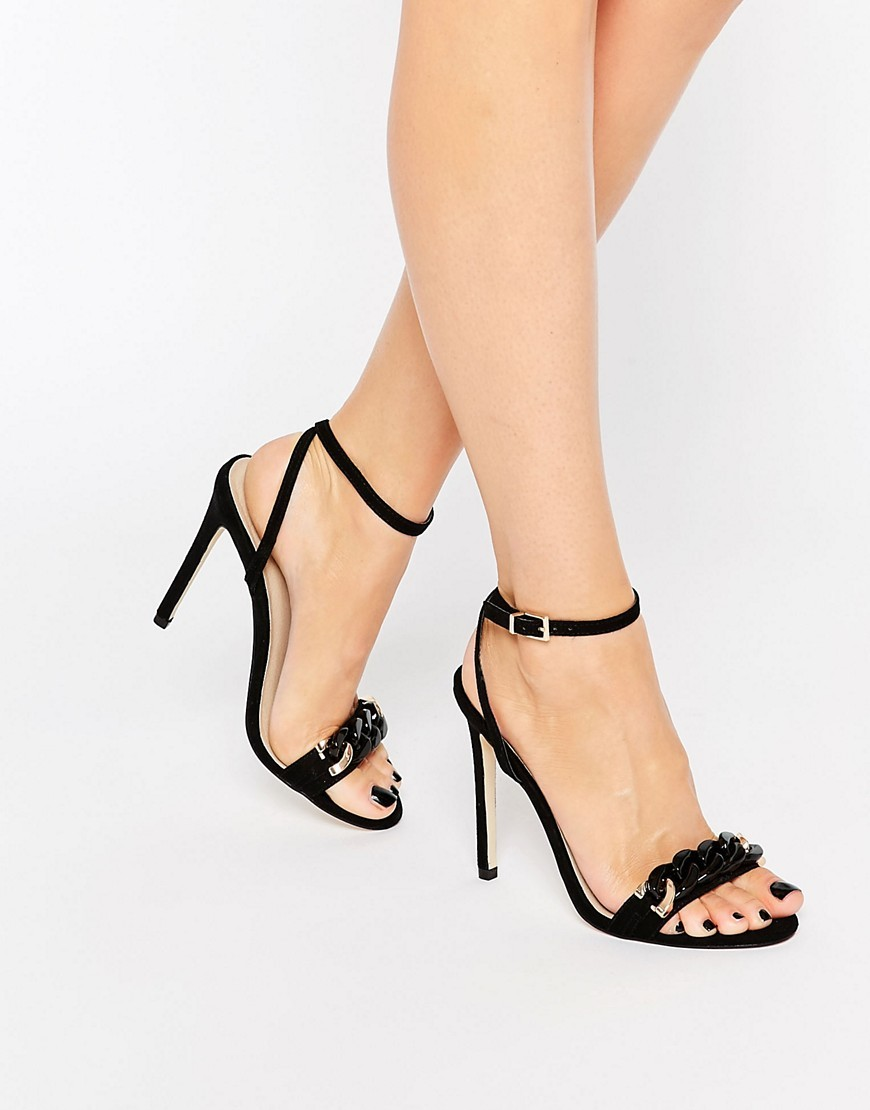 Hocus Pocus Heeled Sandals Black - predominant colour: black; occasions: evening, occasion; material: faux leather; ankle detail: ankle strap; heel: stiletto; toe: open toe/peeptoe; style: strappy; finish: plain; pattern: plain; heel height: very high; season: s/s 2016; wardrobe: event