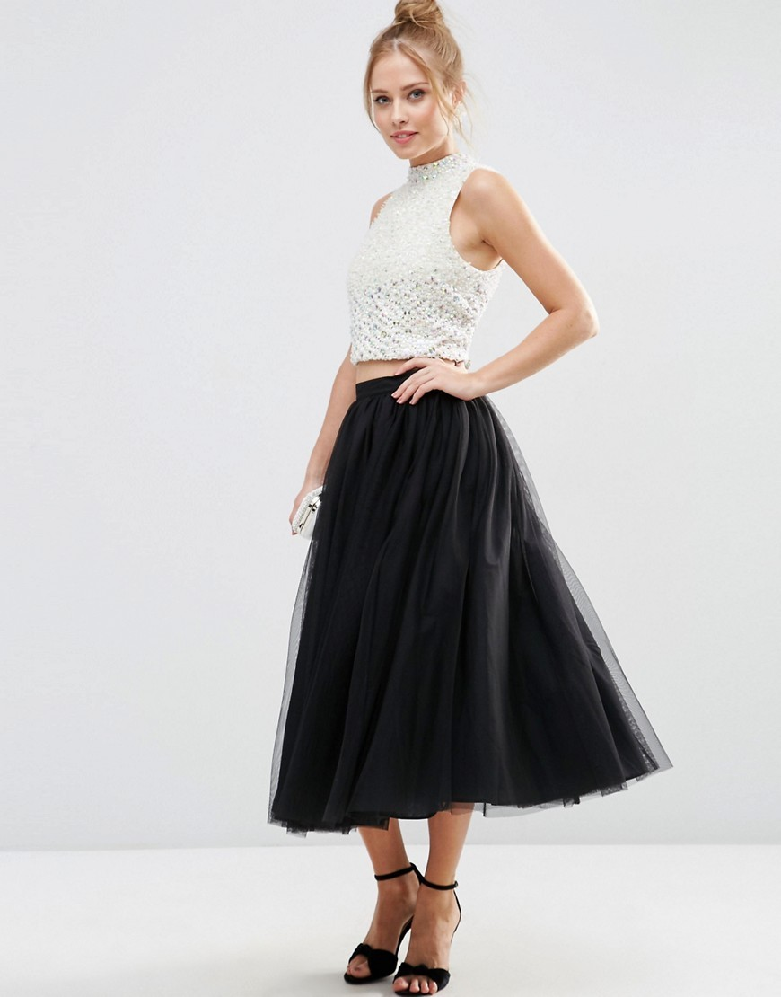 Tulle Prom Skirt With Multi Layers Black - length: calf length; pattern: plain; style: full/prom skirt; fit: loose/voluminous; waist: mid/regular rise; predominant colour: black; occasions: evening; fibres: polyester/polyamide - 100%; pattern type: fabric; texture group: net/tulle; season: s/s 2016; wardrobe: event