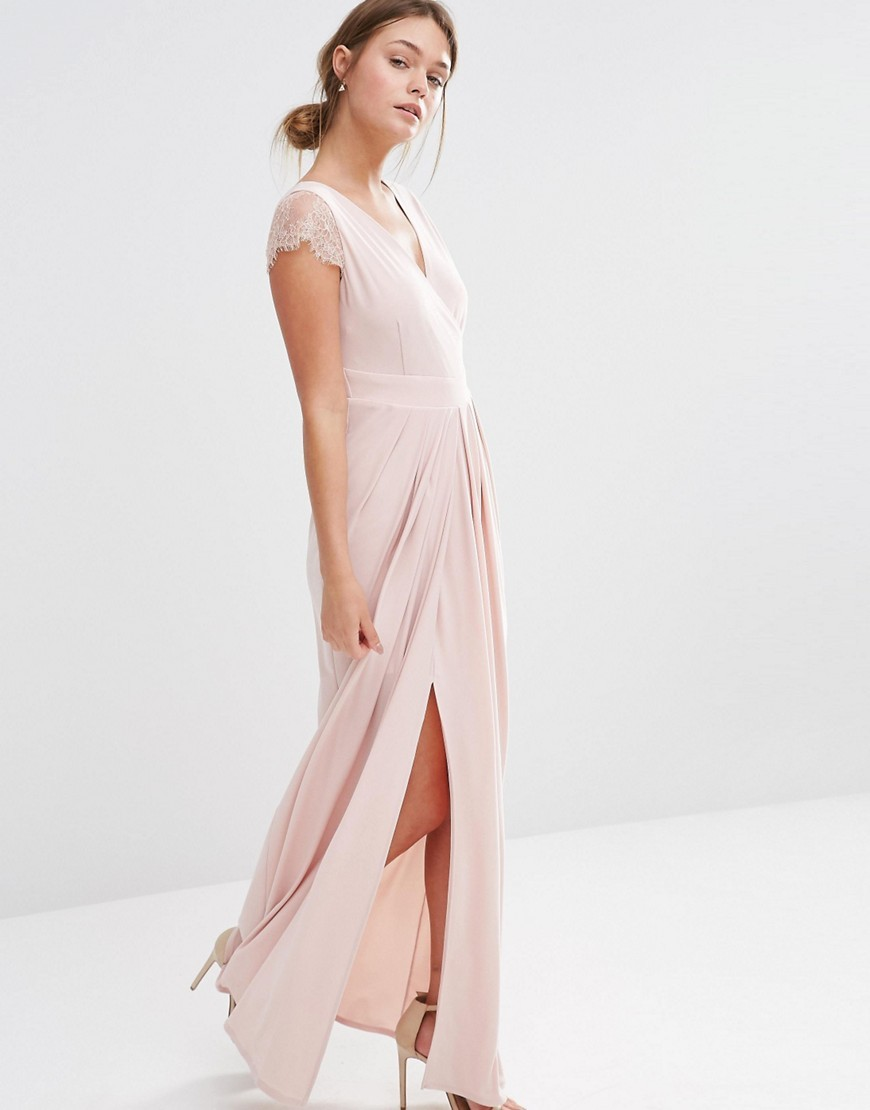 Cherina Mae Maxi Dress Blush - neckline: v-neck; pattern: plain; style: maxi dress; predominant colour: blush; occasions: evening; length: floor length; fit: body skimming; fibres: polyester/polyamide - stretch; hip detail: slits at hip; sleeve length: short sleeve; sleeve style: standard; pattern type: fabric; texture group: jersey - stretchy/drapey; embellishment: lace; season: s/s 2016