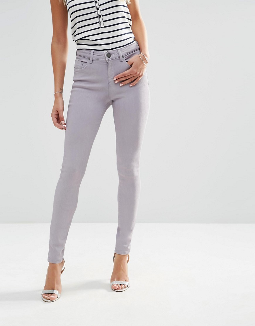 Lisbon Skinny Jeans In Bliss Coated Wash Washed Lilac - style: skinny leg; length: standard; pattern: plain; pocket detail: traditional 5 pocket; waist: mid/regular rise; predominant colour: lilac; occasions: casual; fibres: cotton - stretch; texture group: denim; pattern type: fabric; season: s/s 2016; wardrobe: highlight