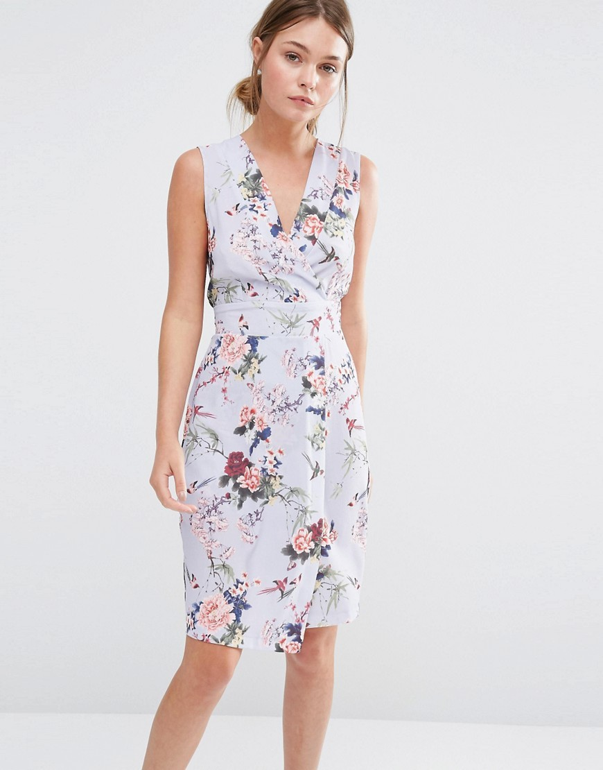 Closet Wrap Front Midi Dress In Floral Blue Floral - style: faux wrap/wrap; neckline: v-neck; sleeve style: sleeveless; secondary colour: burgundy; predominant colour: lilac; occasions: evening; length: on the knee; fit: body skimming; fibres: polyester/polyamide - stretch; sleeve length: sleeveless; pattern type: fabric; pattern: florals; texture group: jersey - stretchy/drapey; multicoloured: multicoloured; season: s/s 2016