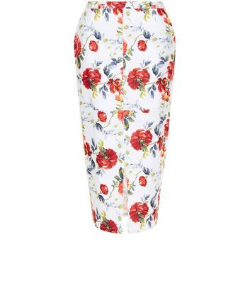 White Floral Print Split Front Midi Skirt - length: below the knee; style: pencil; fit: tight; waist: mid/regular rise; predominant colour: ivory/cream; secondary colour: true red; occasions: evening; fibres: viscose/rayon - stretch; hip detail: slits at hip; texture group: jersey - clingy; pattern type: fabric; pattern: florals; multicoloured: multicoloured; season: s/s 2016; wardrobe: event