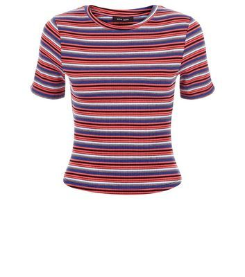 Red Stripe T Shirt - pattern: horizontal stripes; style: t-shirt; secondary colour: denim; predominant colour: bright orange; occasions: casual; length: standard; fibres: polyester/polyamide - stretch; fit: body skimming; neckline: crew; sleeve length: short sleeve; sleeve style: standard; pattern type: fabric; texture group: jersey - stretchy/drapey; multicoloured: multicoloured; season: s/s 2016; wardrobe: highlight
