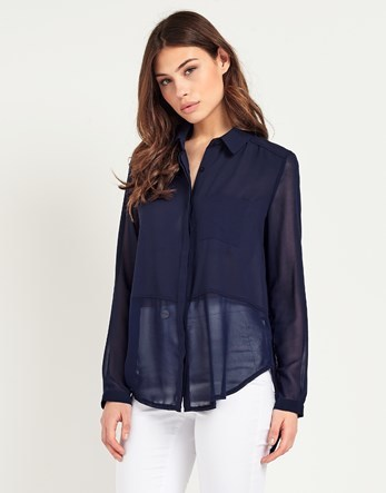 Long Sleeve Sheer Blouse - neckline: shirt collar/peter pan/zip with opening; pattern: plain; style: shirt; predominant colour: navy; occasions: casual; length: standard; fibres: polyester/polyamide - 100%; fit: body skimming; sleeve length: long sleeve; sleeve style: standard; texture group: sheer fabrics/chiffon/organza etc.; pattern type: fabric; season: s/s 2016; wardrobe: basic