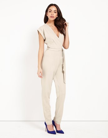 Wrap Front Jumpsuit - length: standard; neckline: low v-neck; pattern: plain; hip detail: draws attention to hips; waist detail: belted waist/tie at waist/drawstring; predominant colour: ivory/cream; occasions: evening; fit: body skimming; fibres: polyester/polyamide - stretch; sleeve length: short sleeve; sleeve style: standard; style: jumpsuit; pattern type: fabric; texture group: jersey - stretchy/drapey; season: s/s 2016; wardrobe: event