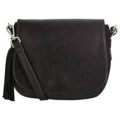 Leather Eda Saddle Bag - predominant colour: black; occasions: casual, creative work; type of pattern: standard; style: saddle; length: across body/long; size: standard; material: leather; pattern: plain; finish: plain; season: s/s 2016