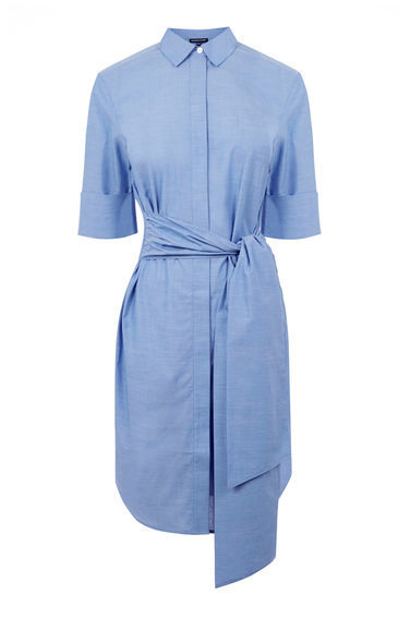 Tie Front Shirt Dress - style: shirt; neckline: shirt collar/peter pan/zip with opening; pattern: plain; waist detail: belted waist/tie at waist/drawstring; predominant colour: pale blue; occasions: casual, creative work; length: on the knee; fit: body skimming; fibres: cotton - 100%; sleeve length: half sleeve; sleeve style: standard; texture group: cotton feel fabrics; pattern type: fabric; season: s/s 2016; wardrobe: highlight
