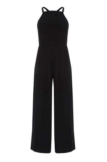 Strappy Culotte Jumpsuit - length: standard; neckline: high square neck; sleeve style: spaghetti straps; fit: tailored/fitted; pattern: plain; predominant colour: black; occasions: evening, creative work; fibres: polyester/polyamide - 100%; back detail: crossover; sleeve length: sleeveless; texture group: crepes; style: jumpsuit; pattern type: fabric; season: s/s 2016; wardrobe: highlight