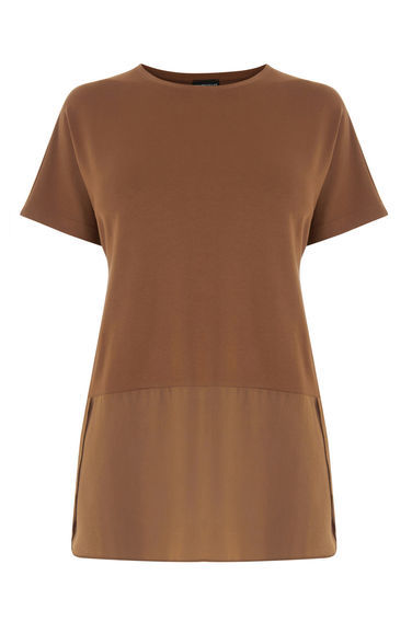 Woven Mix Short Sleeved Top - neckline: round neck; pattern: plain; length: below the bottom; predominant colour: chocolate brown; occasions: casual, creative work; style: top; fibres: viscose/rayon - stretch; fit: body skimming; sleeve length: short sleeve; sleeve style: standard; pattern type: fabric; texture group: jersey - stretchy/drapey; season: s/s 2016