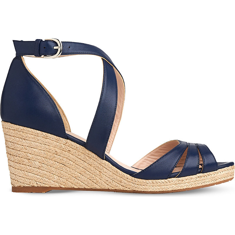 Priya Espadrille Wedge Sandals, Women's, Eur 39 / 6 Uk Women, Blu Denim - predominant colour: navy; occasions: casual, creative work; material: leather; heel height: high; heel: wedge; toe: open toe/peeptoe; style: standard; finish: plain; pattern: plain; season: s/s 2016; wardrobe: investment