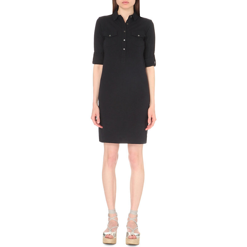 Jersey Cotton Jersey Shirt Dress, Women's, Size: 15/01/1900, Navy - style: shirt; neckline: shirt collar/peter pan/zip with opening; pattern: plain; predominant colour: black; occasions: casual; length: just above the knee; fit: body skimming; fibres: cotton - 100%; sleeve length: half sleeve; sleeve style: standard; pattern type: fabric; texture group: jersey - stretchy/drapey; season: s/s 2016; wardrobe: basic