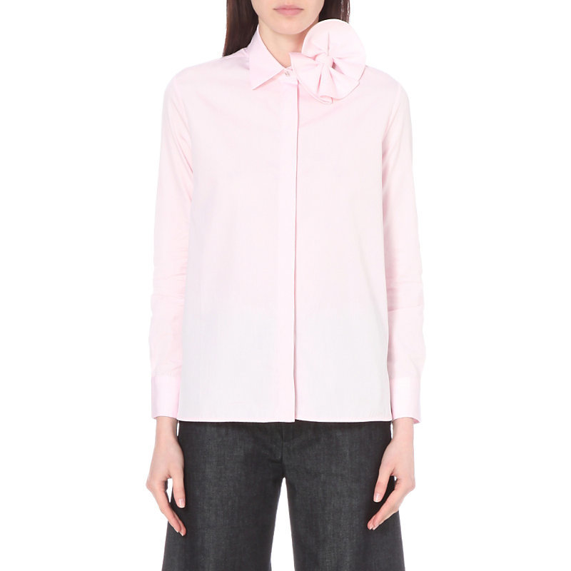 Bow Detail Cotton Shirt, Women's, Pale Candy - neckline: shirt collar/peter pan/zip with opening; pattern: plain; style: shirt; predominant colour: blush; occasions: casual, creative work; length: standard; fibres: cotton - 100%; fit: straight cut; sleeve length: long sleeve; sleeve style: standard; texture group: cotton feel fabrics; pattern type: fabric; embellishment: corsage; season: s/s 2016; wardrobe: highlight