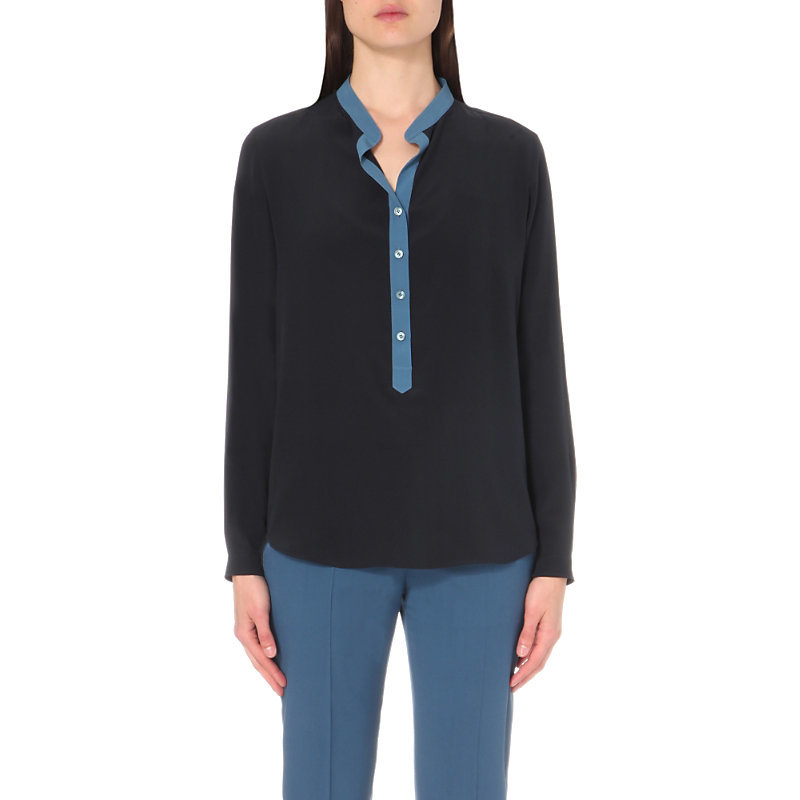 Contrast Placket Silk Crepe Shirt, Women's, Dark Grey/Blue - pattern: plain; length: below the bottom; style: blouse; bust detail: buttons at bust (in middle at breastbone)/zip detail at bust; secondary colour: diva blue; predominant colour: black; neckline: collarstand; fibres: silk - 100%; fit: body skimming; sleeve length: long sleeve; sleeve style: standard; texture group: crepes; pattern type: fabric; occasions: creative work; season: s/s 2016; wardrobe: highlight