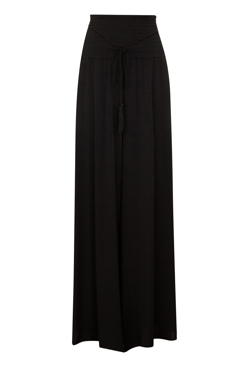 Myriam Trouser Black - length: standard; pattern: plain; waist detail: wide waistband/cummerbund; waist: high rise; predominant colour: black; fibres: polyester/polyamide - 100%; occasions: occasion; fit: wide leg; pattern type: fabric; texture group: jersey - stretchy/drapey; style: standard; season: s/s 2016
