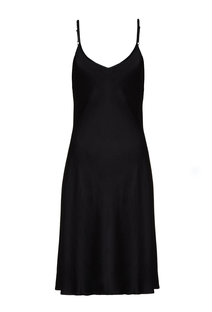 Jo Dress Satin Black - length: below the knee; neckline: low v-neck; sleeve style: spaghetti straps; pattern: plain; predominant colour: black; occasions: evening; fit: soft a-line; style: slip dress; fibres: polyester/polyamide - 100%; sleeve length: sleeveless; texture group: structured shiny - satin/tafetta/silk etc.; pattern type: fabric; season: s/s 2016