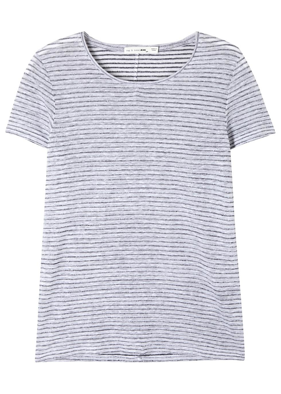 Summer Striped Linen Blend T Shirt - pattern: horizontal stripes; style: t-shirt; secondary colour: white; predominant colour: navy; occasions: casual; length: standard; fibres: linen - mix; fit: body skimming; neckline: crew; sleeve length: short sleeve; sleeve style: standard; pattern type: fabric; texture group: jersey - stretchy/drapey; multicoloured: multicoloured; season: s/s 2016