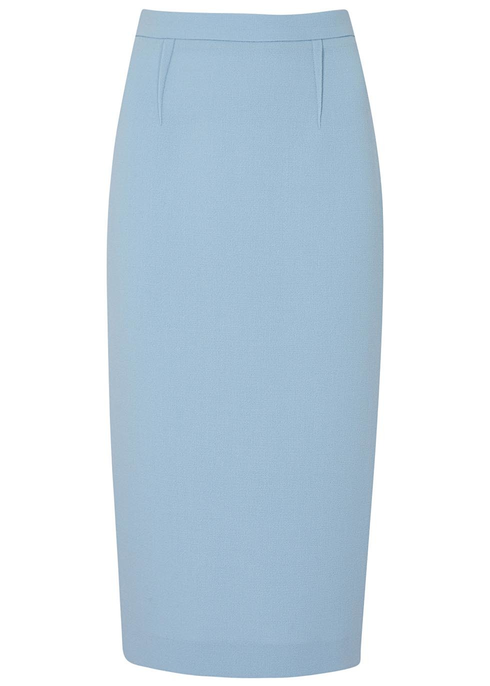 Arreton Blue Wool Crepe Pencil Skirt - pattern: plain; style: pencil; fit: tailored/fitted; waist: mid/regular rise; predominant colour: pale blue; occasions: evening; length: on the knee; fibres: wool - mix; texture group: crepes; pattern type: fabric; season: s/s 2016; wardrobe: event