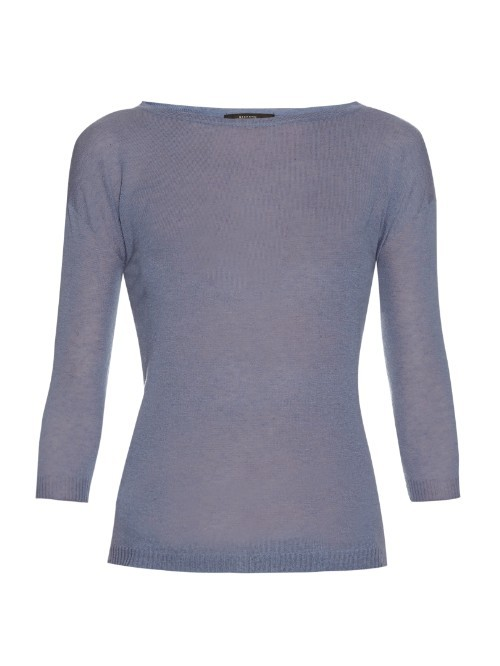 Ancella Sweater - pattern: plain; style: standard; predominant colour: denim; occasions: casual; length: standard; fit: slim fit; neckline: crew; fibres: cashmere - 100%; sleeve length: 3/4 length; sleeve style: standard; pattern type: fabric; texture group: other - light to midweight; season: s/s 2016; wardrobe: highlight