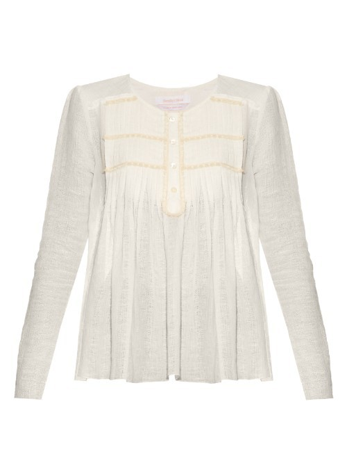 Pleated Round Neck Blouse - pattern: plain; style: blouse; predominant colour: white; occasions: casual; length: standard; fibres: cotton - mix; fit: body skimming; neckline: crew; sleeve length: long sleeve; sleeve style: standard; pattern type: fabric; texture group: woven light midweight; season: s/s 2016; wardrobe: basic