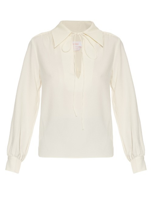 Tie Neck Crepe Blouse - neckline: shirt collar/peter pan/zip with opening; pattern: plain; style: blouse; predominant colour: white; occasions: casual; length: standard; fibres: polyester/polyamide - stretch; fit: body skimming; sleeve length: long sleeve; sleeve style: standard; texture group: crepes; pattern type: fabric; season: s/s 2016
