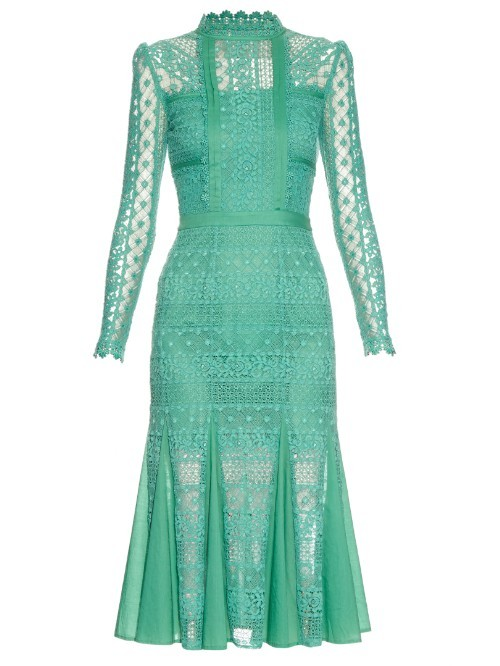 Desdemona Long Sleeved Lace Midi Dress - length: calf length; fit: tight; neckline: high neck; bust detail: sheer at bust; predominant colour: mint green; occasions: evening; fibres: cotton - 100%; style: fishtail; sleeve length: long sleeve; sleeve style: standard; texture group: lace; pattern type: fabric; pattern: patterned/print; shoulder detail: sheer at shoulder; season: s/s 2016; wardrobe: event
