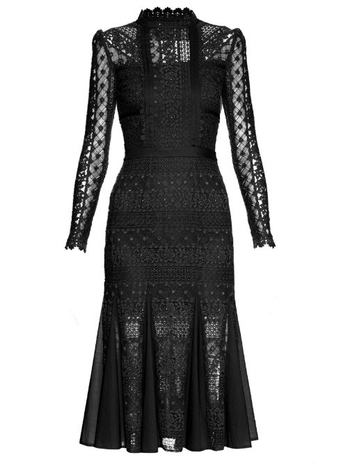 Desdemona Long Sleeved Lace Midi Dress - length: calf length; fit: tight; neckline: high neck; bust detail: sheer at bust; predominant colour: black; occasions: evening; fibres: cotton - 100%; style: fishtail; sleeve length: long sleeve; sleeve style: standard; texture group: lace; pattern type: fabric; pattern: patterned/print; shoulder detail: sheer at shoulder; season: s/s 2016; wardrobe: event