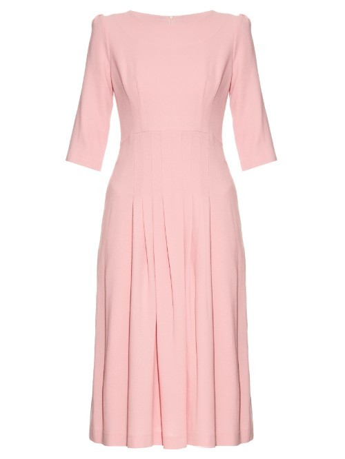 Camelot Wool Crepe Dress - style: shift; length: calf length; fit: tailored/fitted; pattern: plain; predominant colour: pink; occasions: evening; fibres: wool - 100%; neckline: crew; sleeve length: 3/4 length; sleeve style: standard; texture group: crepes; pattern type: fabric; season: s/s 2016; wardrobe: event