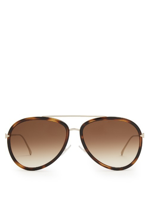 Aviator Acetate Sunglasses - predominant colour: chocolate brown; style: aviator; size: standard; material: plastic/rubber; pattern: tortoiseshell; occasions: holiday; finish: plain; season: s/s 2016; wardrobe: basic
