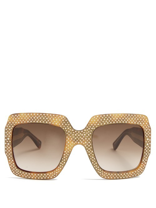 Oversized Square Frame Embellished Sunglasses - predominant colour: gold; style: square; size: large; material: plastic/rubber; pattern: plain; occasions: holiday; finish: plain; season: s/s 2016; wardrobe: basic