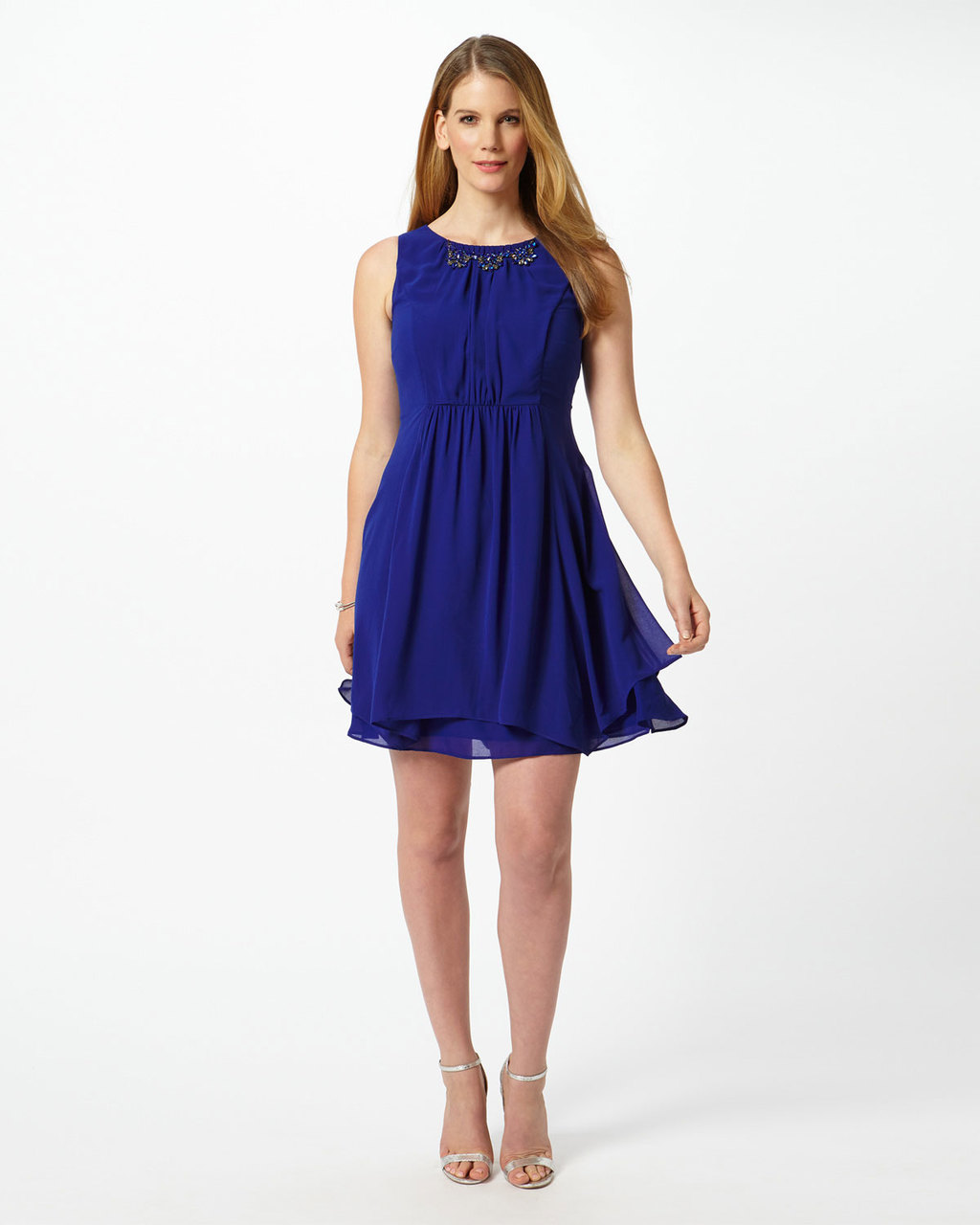 Madison Dress - length: mid thigh; pattern: plain; sleeve style: sleeveless; predominant colour: royal blue; occasions: evening; fit: fitted at waist & bust; style: fit & flare; fibres: polyester/polyamide - 100%; neckline: crew; sleeve length: sleeveless; texture group: sheer fabrics/chiffon/organza etc.; pattern type: fabric; season: s/s 2016; wardrobe: event