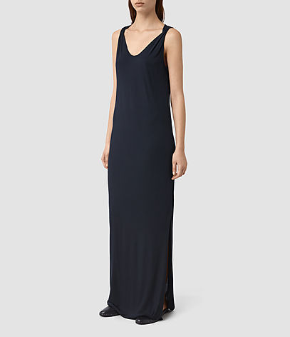 Evelyn Dress - neckline: low v-neck; pattern: plain; sleeve style: sleeveless; style: maxi dress; predominant colour: black; occasions: evening; length: floor length; fit: body skimming; fibres: viscose/rayon - 100%; sleeve length: sleeveless; pattern type: fabric; texture group: jersey - stretchy/drapey; season: s/s 2016; wardrobe: event