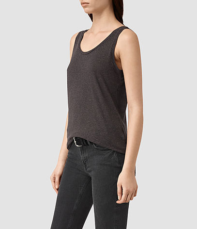 Ona Tank - neckline: round neck; pattern: plain; sleeve style: sleeveless; style: vest top; predominant colour: charcoal; occasions: casual; length: standard; fit: body skimming; sleeve length: sleeveless; pattern type: fabric; texture group: jersey - stretchy/drapey; fibres: viscose/rayon - mix; season: s/s 2016