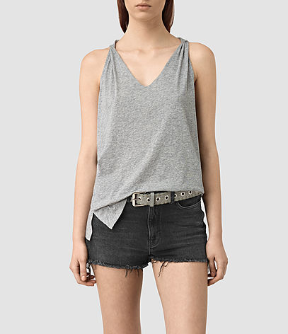 Lena Tank - neckline: v-neck; pattern: plain; sleeve style: sleeveless; style: vest top; predominant colour: light grey; occasions: casual; length: standard; fibres: cotton - 100%; fit: body skimming; sleeve length: sleeveless; pattern type: fabric; texture group: jersey - stretchy/drapey; season: s/s 2016; wardrobe: basic