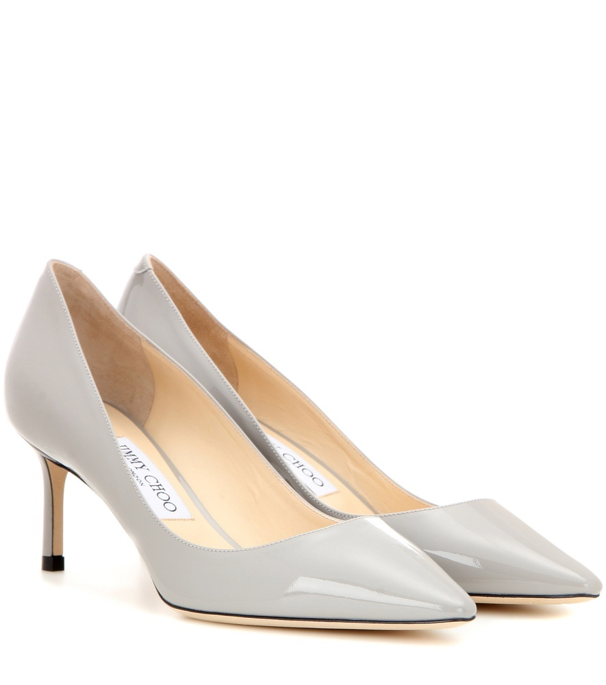Romy 60 Patent Leather Pumps - predominant colour: light grey; occasions: evening; material: leather; heel height: high; heel: stiletto; toe: pointed toe; style: courts; finish: patent; pattern: plain; season: s/s 2016; wardrobe: event