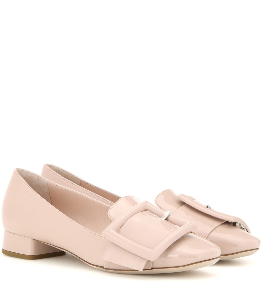 Patent Leather Pumps - predominant colour: nude; occasions: casual, creative work; material: leather; heel height: mid; embellishment: buckles; heel: block; toe: round toe; style: courts; finish: plain; pattern: plain; season: s/s 2016