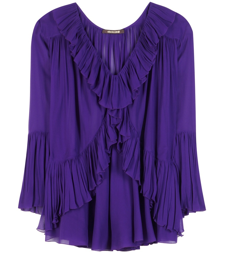Ruffled Silk Blouse - neckline: v-neck; pattern: plain; style: blouse; predominant colour: royal blue; occasions: evening; length: standard; fibres: silk - 100%; fit: body skimming; sleeve length: long sleeve; sleeve style: standard; texture group: silky - light; bust detail: bulky details at bust; pattern type: fabric; season: s/s 2016; wardrobe: event