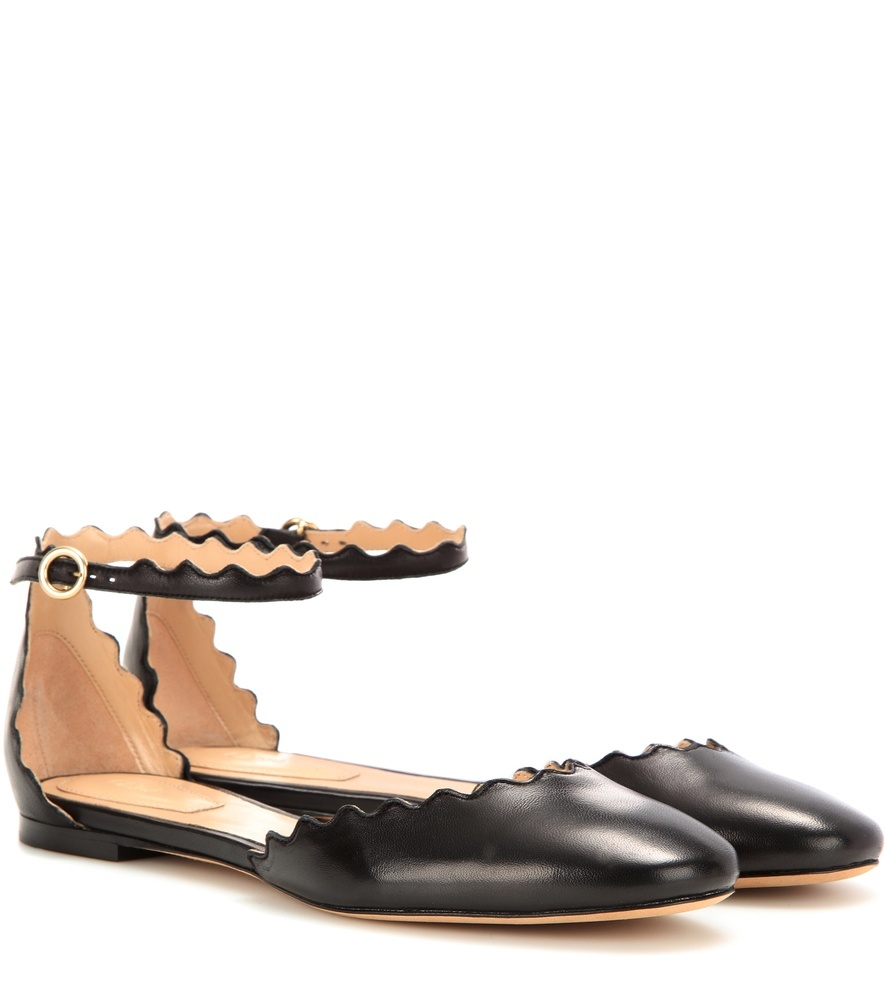 Lauren Leather Ballerinas - predominant colour: black; occasions: casual, creative work; material: leather; heel height: flat; ankle detail: ankle strap; toe: round toe; style: ballerinas / pumps; finish: plain; pattern: plain; season: s/s 2016; wardrobe: basic