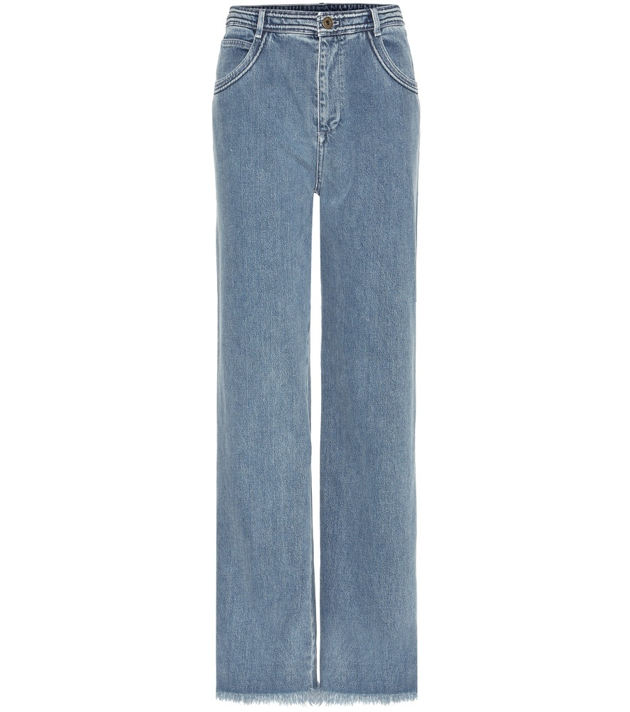 Frayed Wide Leg Jeans - length: standard; pattern: plain; pocket detail: traditional 5 pocket; waist: mid/regular rise; style: wide leg; predominant colour: denim; occasions: casual; fibres: cotton - 100%; texture group: denim; pattern type: fabric; season: s/s 2016; wardrobe: basic