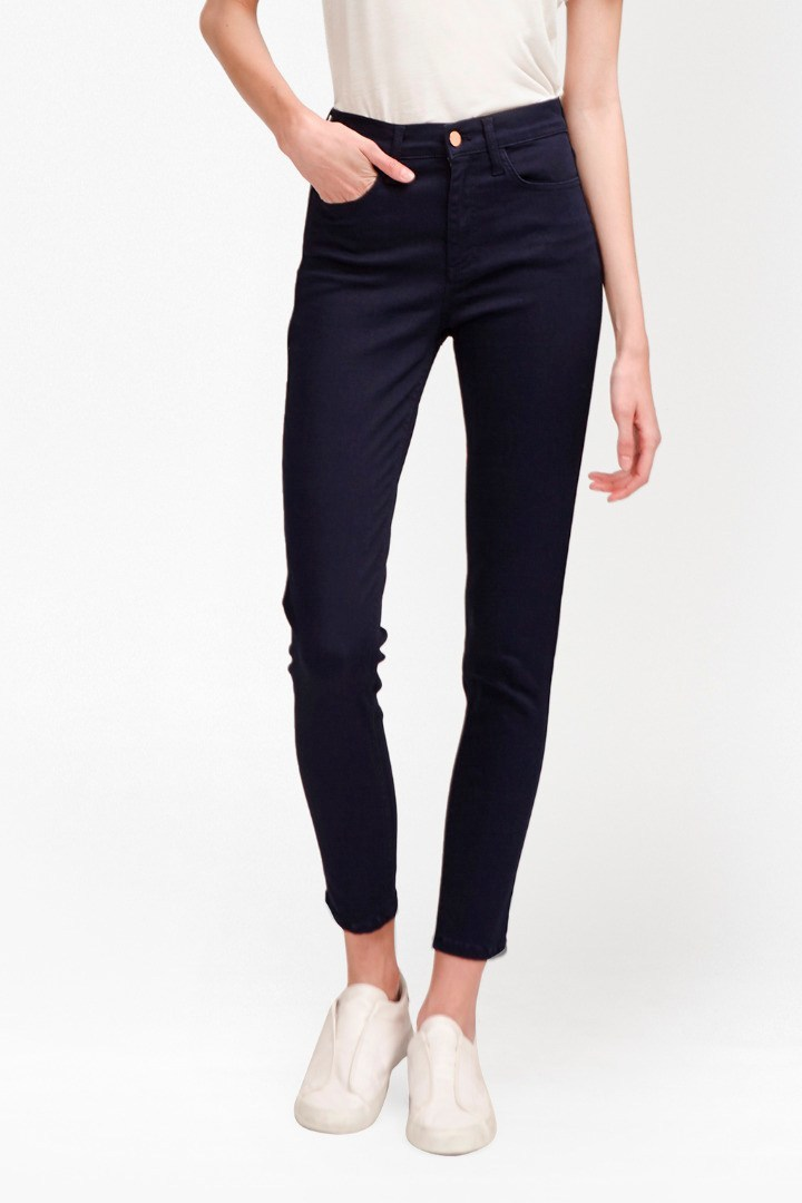 Svelte High Rise Skinny Jeans Dark Sapphire - style: skinny leg; length: standard; pattern: plain; waist: high rise; pocket detail: traditional 5 pocket; predominant colour: navy; occasions: casual, evening, creative work; fibres: cotton - stretch; jeans detail: dark wash; texture group: denim; pattern type: fabric; season: s/s 2016; wardrobe: basic