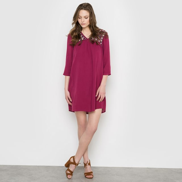 Elsa Dress - style: shift; length: mid thigh; neckline: v-neck; pattern: plain; predominant colour: hot pink; secondary colour: black; occasions: evening; fit: body skimming; fibres: viscose/rayon - 100%; sleeve length: 3/4 length; sleeve style: standard; pattern type: fabric; texture group: other - light to midweight; embellishment: embroidered; season: s/s 2016; wardrobe: event; embellishment location: shoulder
