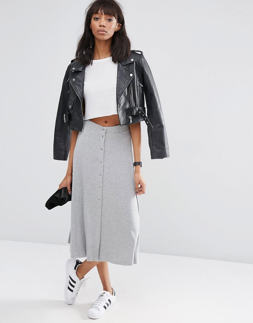Midi Skater Skirt With Poppers Grey Marl - length: calf length; pattern: plain; fit: loose/voluminous; waist: high rise; predominant colour: light grey; occasions: casual; style: a-line; fibres: cotton - stretch; pattern type: fabric; texture group: jersey - stretchy/drapey; season: s/s 2016; wardrobe: basic