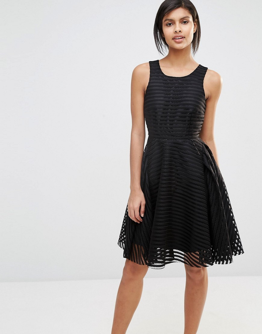 Lace Skater Dress Black - sleeve style: sleeveless; predominant colour: black; occasions: evening; length: on the knee; fit: fitted at waist & bust; style: fit & flare; fibres: polyester/polyamide - 100%; neckline: crew; sleeve length: sleeveless; texture group: lace; pattern type: fabric; pattern: patterned/print; season: s/s 2016; wardrobe: event